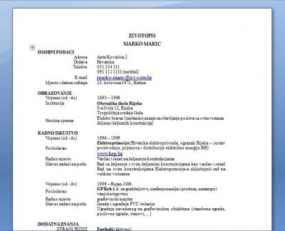 Primjer Zivotopis 1 Cv 1 Biografija 1 Zaposli Se Molba